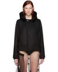 Bless - Black Wool Hooded Jacket - Lyst