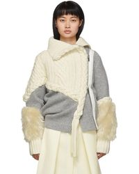 Sacai Grey And Off-white Cable Knit Jacket - Gray