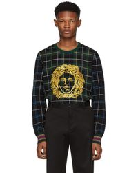 Classic Cheap Price Green Plaid Medusa Sweater Cheap For Nice Outlet New Styles New Arrival Cheap Online In China Online ucPCOeTnX