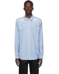 DOUBLE RAINBOUU ブルー Western シャツ