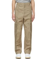Acne Studios Beige Twill Workwear Trousers - Natural