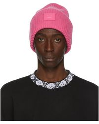 Acne Studios Pink Rib Knit Patch Beanie - Multicolour