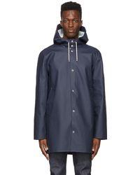 Stutterheim Navy Stockholm Raincoat - Blue