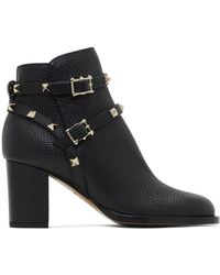 Valentino Rockstud Leather Ankle Boots - Black
