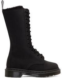 Dr. Martens - Black Suede Fur-lined 14-eye Boots - Lyst