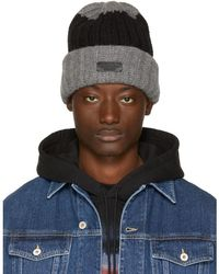 DSquared² - Grey & Black Bicolor Beanie - Lyst