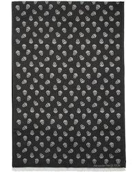 Alexander McQueen ブラック ウーブン スカル スカーフ - ブラウン