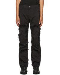 KANGHYUK Airbag Fringe Pants - Black