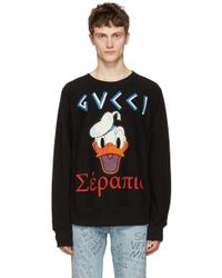 Gucci - Black Embroidered Donald Duck Pullover - Lyst