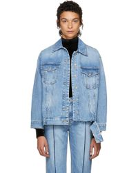 SJYP - Blue Bottom Cut Denim Jacket - Lyst