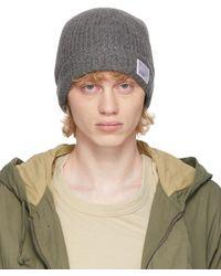 Visvim - Grey Wool Rib Knit Beanie - Lyst