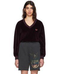 Yeezy - Burgundy Velour Deep V-neck Sweatshirt - Lyst