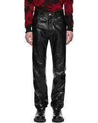 Givenchy ブラック レザー パーフォレーション スクエア パンツ
