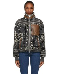 Amiri Gray Fleece Bandana Jacket - Black