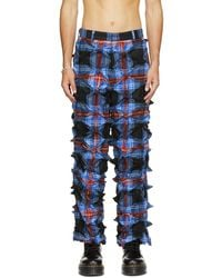 Charles Jeffrey LOVERBOY Blue & Red Plaid Spike Trousers