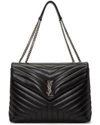 Saint Laurent - Black Large Lou Lou Monogramme Chain Bag - Lyst