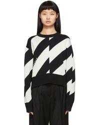 PROENZA SCHOULER WHITE LABEL ブラック And オフホワイト ストライプ ロゴ セーター