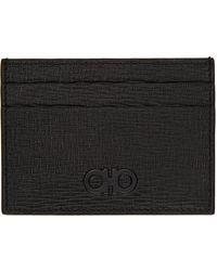 Ferragamo ブラック & グレー ビル クリップ カード ケース