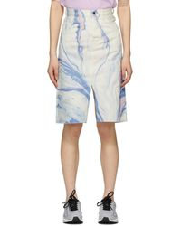 Aries White Denim Marble Print Skirt - Blue
