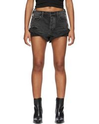 Alexander Wang Black Denim Hike Shorts - Grey