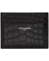 Saint Laurent - Black Croc Card Holder - Lyst