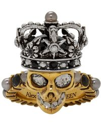 Alexander McQueen Gold And Silver King Skull Ring - Metallic