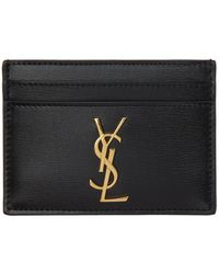Saint Laurent - Black Leather Monogramme Card Holder - Lyst
