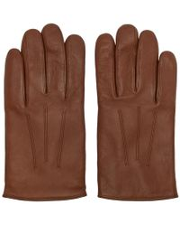 HUGO - Brown Leather Gloves - Lyst