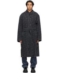 Balenciaga ブラック ロゴ トレンチ コート