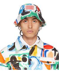 Charles Jeffrey LOVERBOY Multicolour Print Bucket Hat - Blue