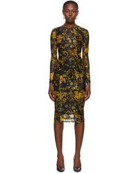 Versace Jeans Couture ブラック & ゴールド メッシュ プリント ドレス
