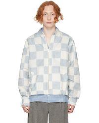 Jacquemus ブルー & ホワイト Le Blouson Chemise ジャケット