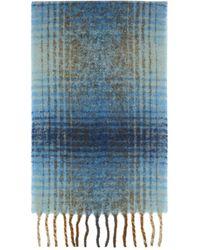Séfr Blue & Brown Wool Check Scarf