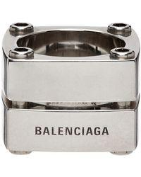 Balenciaga シルバー Gear Plate リング - メタリック