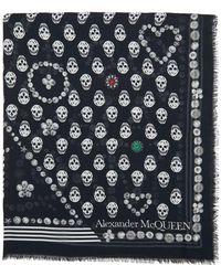 Alexander McQueen Foulard noir Jewelled Button Biker