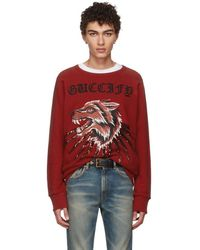 ed61c330609 Gucci Red Animalium Double Wolves Hoodie in Red for Men - Lyst