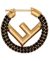 Fendi Gold And Black F Is Single Earring