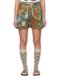 Gucci GG Supreme Flowers Shorts - Brown