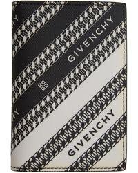 Givenchy Porte-cartes à deux volets noir et blanc Chain Logo