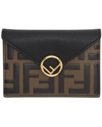 Fendi Black And Brown Forever Envelope Pouch