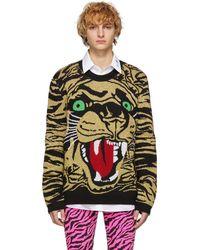 Gucci Tiger-graphic Metallic Wool-blend Sweater - Black