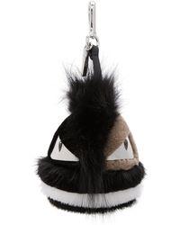 Fendi | Black And White Striped Fur Bag Bugs Keychain | Lyst