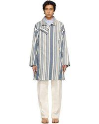 Maison Margiela ブルー & ホワイト ストライプ コート