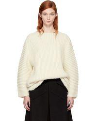 Lauren Manoogian - Ssense Exclusive White Fisherman Tunic Sweater - Lyst