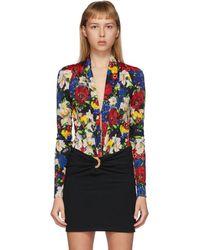 Versace Ssense Exclusive Multicolor Floral Scoop Neck Bodysuit - Black