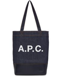 A.P.C. - Navy Denim Axel Tote - Lyst