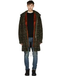 Yves Salomon - Green Camo Fur-lined Mid-length Parka - Lyst