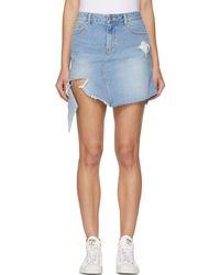 SJYP - Blue Denim Cut-off Miniskirt - Lyst