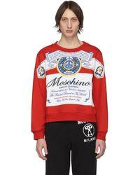 Moschino Budweiser Edition レッド And ホワイト ロゴ スウェットシャツ