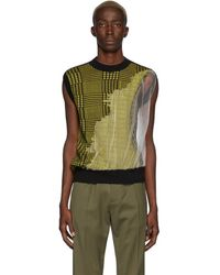 Cmmn Swdn Black And Yellow Knit Fedde Vest - Green